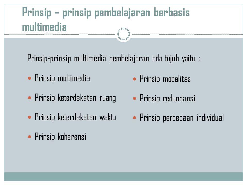 Prinsip – prinsip pembelajaran berbasis multimedia Prinsip-prinsip multimedia pembelajaran ada tujuh yaitu : Prinsip multimedia Prinsip keterdekatan r
