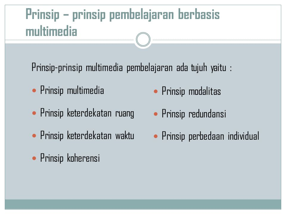 Prinsip – prinsip pembelajaran berbasis multimedia Prinsip-prinsip multimedia pembelajaran ada tujuh yaitu : Prinsip multimedia Prinsip keterdekatan ruang Prinsip keterdekatan waktu Prinsip koherensi Prinsip modalitas Prinsip redundansi Prinsip perbedaan individual