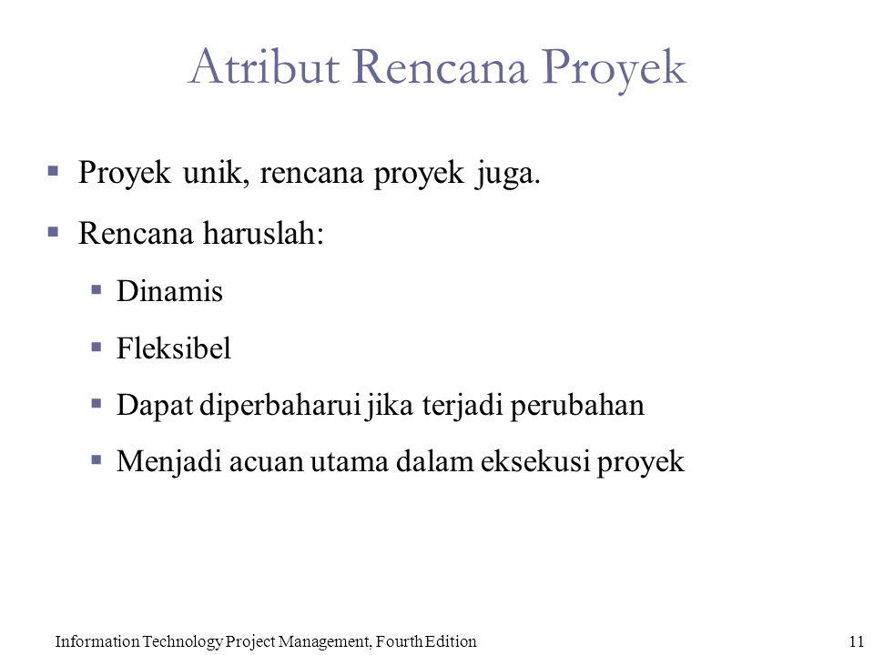 Information Technology Project Management, Fourth Edition11 Atribut Rencana Proyek  Proyek unik, rencana proyek juga.
