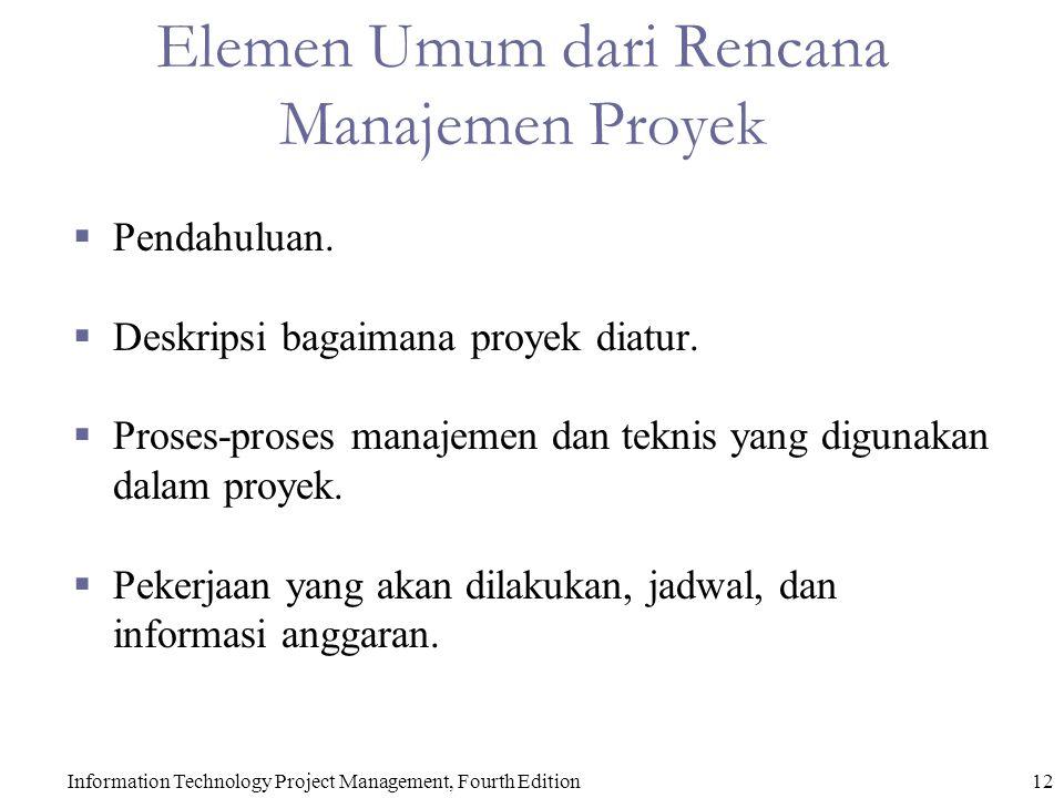 Information Technology Project Management, Fourth Edition12 Elemen Umum dari Rencana Manajemen Proyek  Pendahuluan.