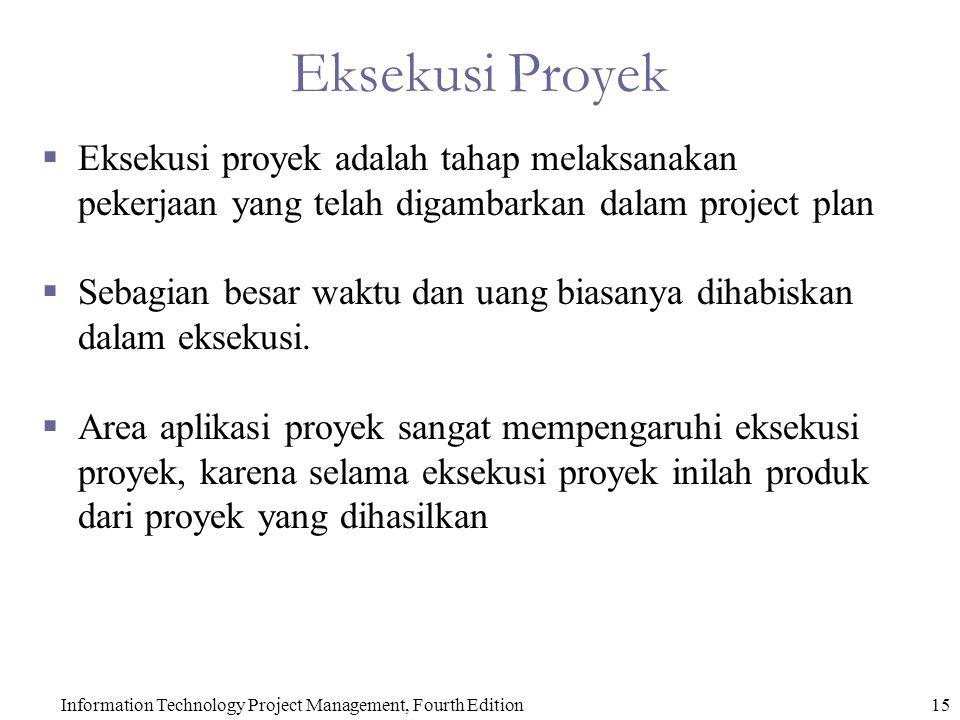 Information Technology Project Management, Fourth Edition15 Eksekusi Proyek  Eksekusi proyek adalah tahap melaksanakan pekerjaan yang telah digambarkan dalam project plan  Sebagian besar waktu dan uang biasanya dihabiskan dalam eksekusi.