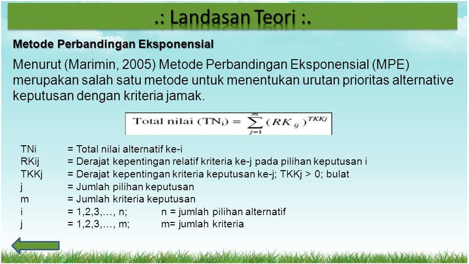 Metode Perbandingan Eksponensial Menurut (Marimin, 2005) Metode Perbandingan Eksponensial (MPE) merupakan salah satu metode untuk menentukan urutan pr