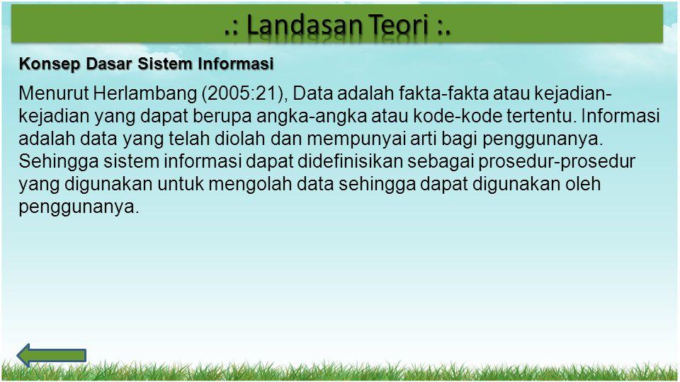 Konsep Dasar Sistem Informasi Menurut Herlambang (2005:21), Data adalah fakta-fakta atau kejadian- kejadian yang dapat berupa angka-angka atau kode-ko