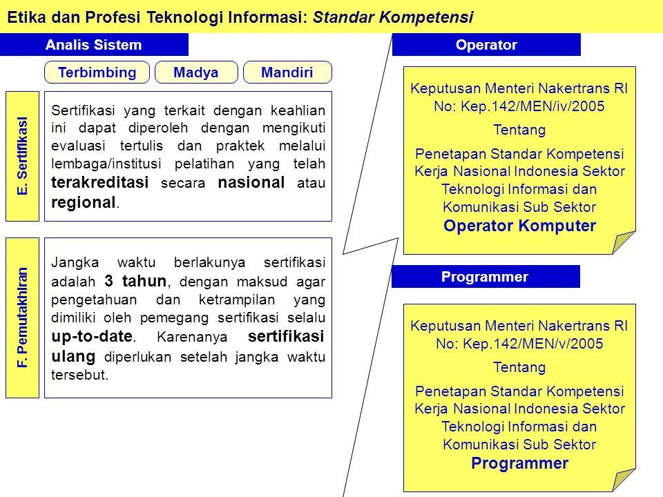 Etika dan Profesi Teknologi Informasi: Standar Kompetensi Analis Sistem E.