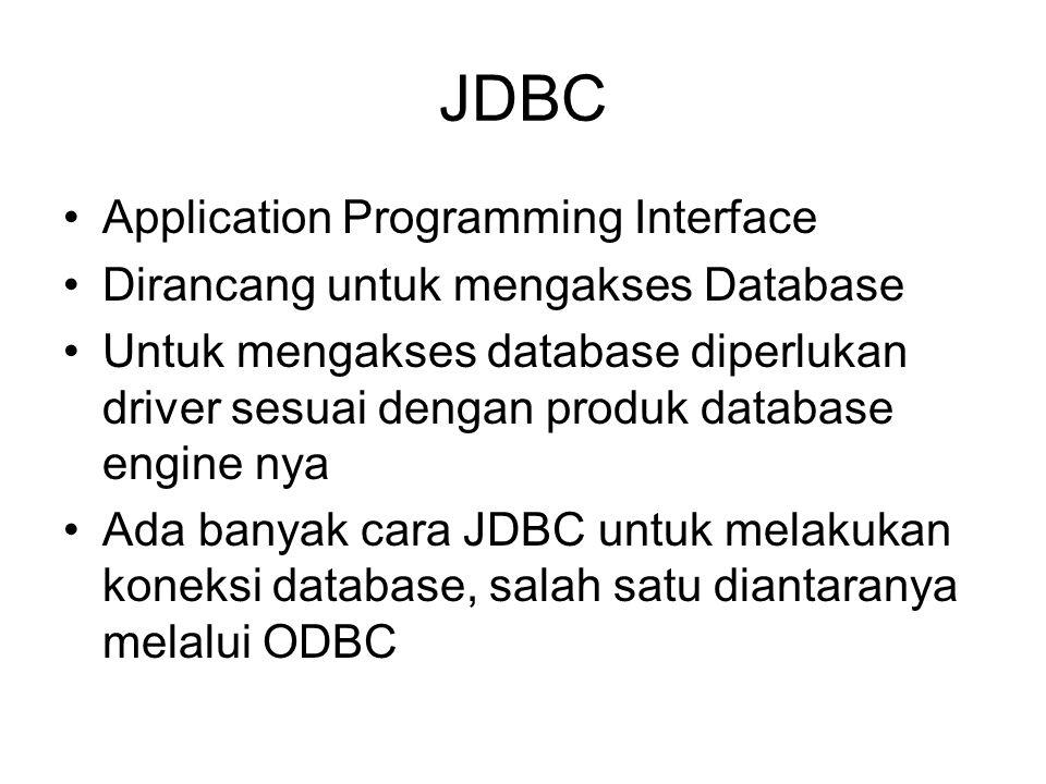 JDBC Application Programming Interface Dirancang untuk mengakses Database Untuk mengakses database diperlukan driver sesuai dengan produk database eng