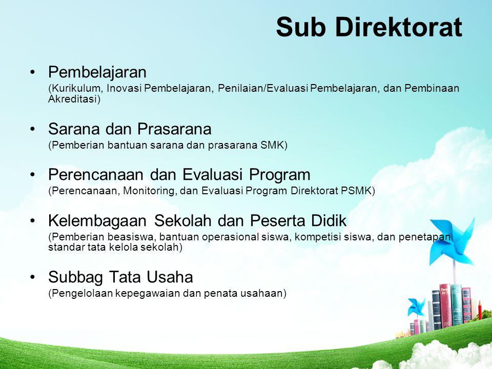 Sub Direktorat Pembelajaran (Kurikulum, Inovasi Pembelajaran, Penilaian/Evaluasi Pembelajaran, dan Pembinaan Akreditasi) Sarana dan Prasarana (Pemberi