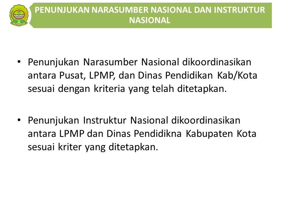 Penunjukan Narasumber Nasional dikoordinasikan antara Pusat, LPMP, dan Dinas Pendidikan Kab/Kota sesuai dengan kriteria yang telah ditetapkan.