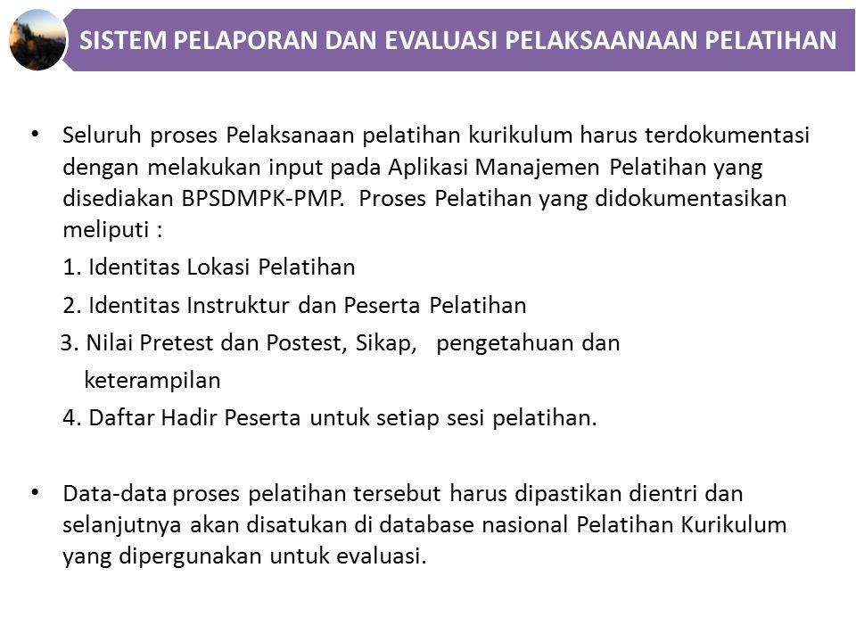 Seluruh proses Pelaksanaan pelatihan kurikulum harus terdokumentasi dengan melakukan input pada Aplikasi Manajemen Pelatihan yang disediakan BPSDMPK-PMP.