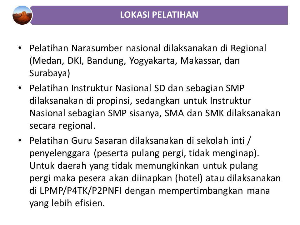 Pelatihan Narasumber nasional dilaksanakan di Regional (Medan, DKI, Bandung, Yogyakarta, Makassar, dan Surabaya) Pelatihan Instruktur Nasional SD dan sebagian SMP dilaksanakan di propinsi, sedangkan untuk Instruktur Nasional sebagian SMP sisanya, SMA dan SMK dilaksanakan secara regional.