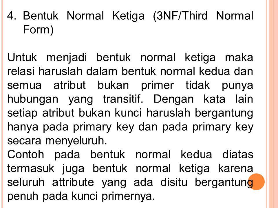 4.Bentuk Normal Ketiga (3NF/Third Normal Form) Untuk menjadi bentuk normal ketiga maka relasi haruslah dalam bentuk normal kedua dan semua atribut buk