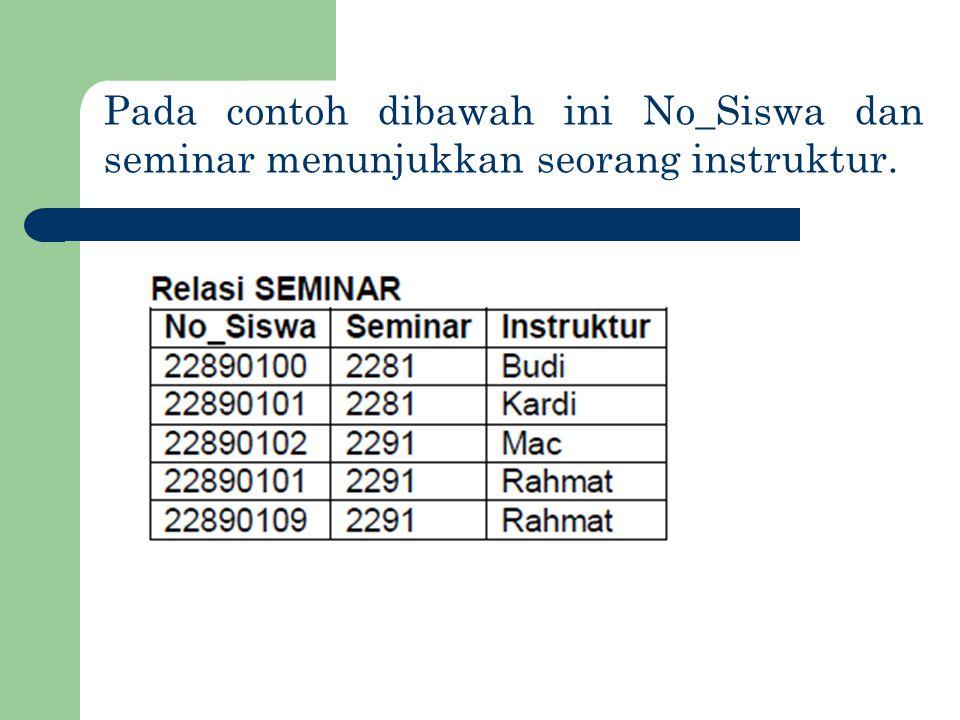 Pada contoh dibawah ini No_Siswa dan seminar menunjukkan seorang instruktur.