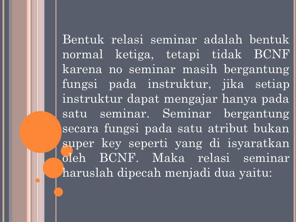 Bentuk relasi seminar adalah bentuk normal ketiga, tetapi tidak BCNF karena no seminar masih bergantung fungsi pada instruktur, jika setiap instruktur