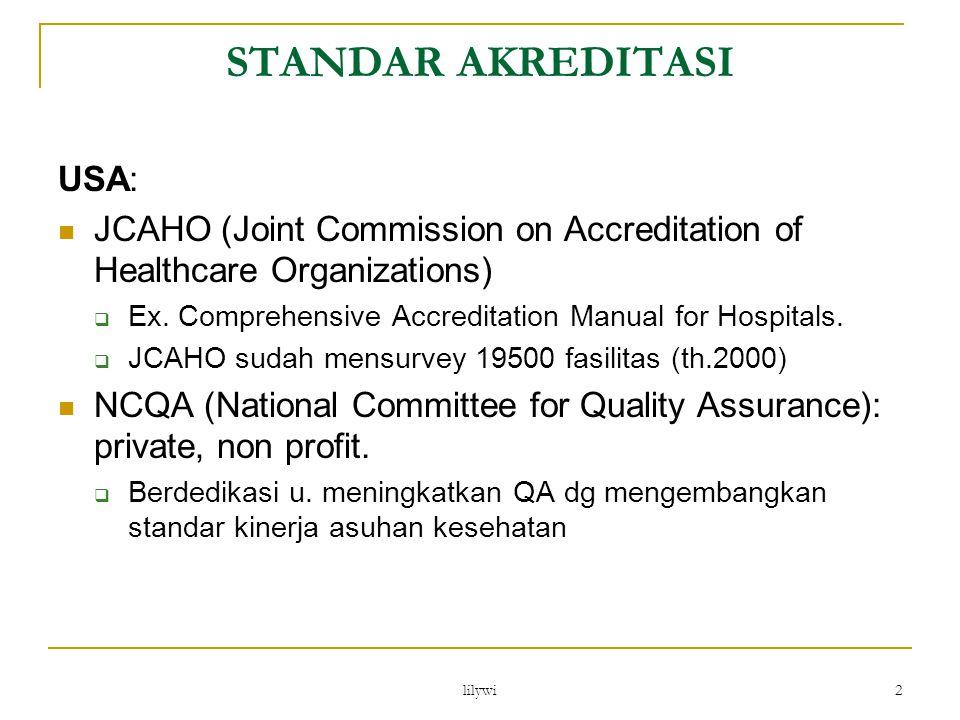 lilywi 3 Akreditasi RS dan QA di Indonesia 1981 RS Gatot Subroto yang pertama kali menerapkan Upaya penilaian mutu didasarkan pada kepuasan pasien .