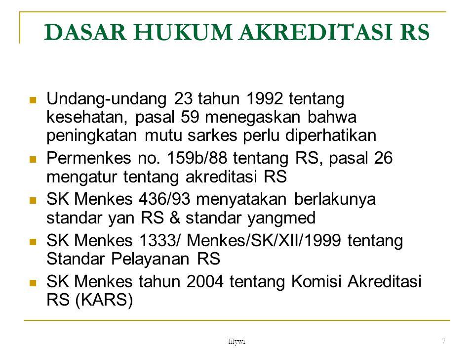 lilywi 7 Undang-undang 23 tahun 1992 tentang kesehatan, pasal 59 menegaskan bahwa peningkatan mutu sarkes perlu diperhatikan Permenkes no. 159b/88 ten