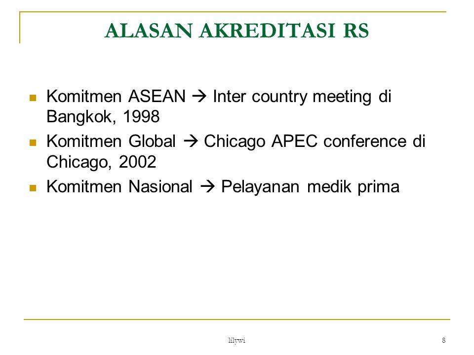 lilywi 8 ALASAN AKREDITASI RS Komitmen ASEAN  Inter country meeting di Bangkok, 1998 Komitmen Global  Chicago APEC conference di Chicago, 2002 Komit