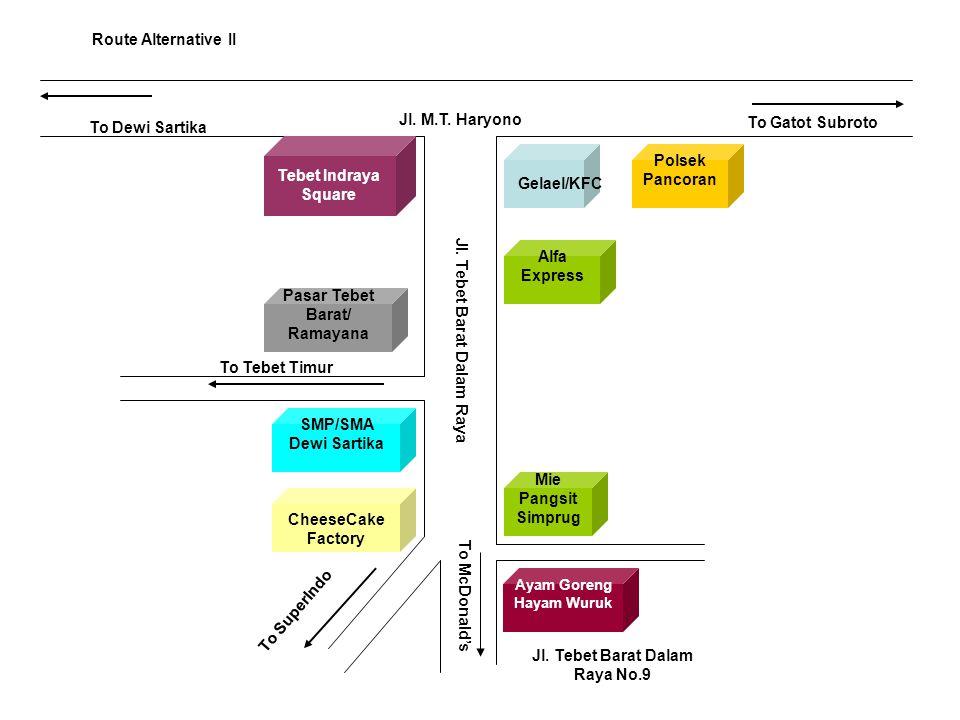 Jl. M.T. Haryono To Dewi Sartika To Gatot Subroto Tebet Indraya Square Jl. Tebet Barat Dalam Raya Gelael/KFC Route Alternative II Polsek Pancoran Alfa