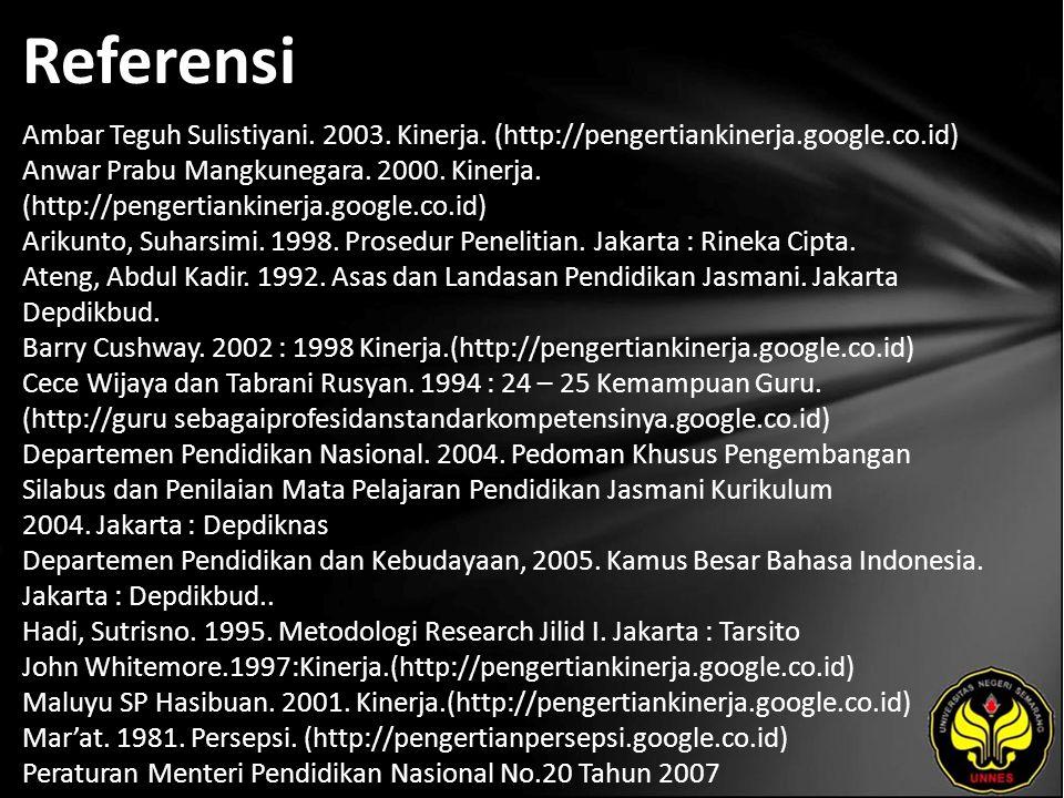 Referensi Ambar Teguh Sulistiyani.2003. Kinerja.