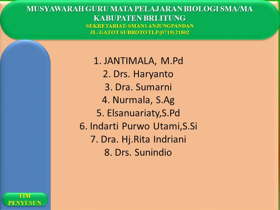 1.JANTIMALA, M.Pd 2.Drs. Haryanto 3.Dra. Sumarni 4.Nurmala, S.Ag 5.Elsanuariaty,S.Pd 6.Indarti Purwo Utami,S.Si 7.Dra. Hj.Rita Indriani 8.Drs. Sunindi