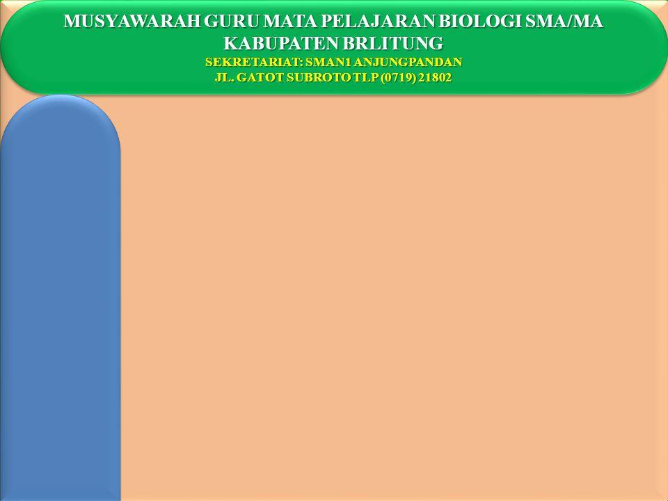 MUSYAWARAH GURU MATA PELAJARAN BIOLOGI SMA/MA KABUPATEN BRLITUNG SEKRETARIAT: SMAN1 ANJUNGPANDAN JL. GATOT SUBROTO TLP (0719) 21802 MUSYAWARAH GURU MA
