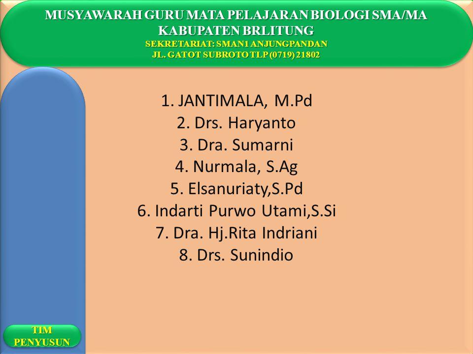 1.JANTIMALA, M.Pd 2.Drs. Haryanto 3.Dra. Sumarni 4.Nurmala, S.Ag 5.Elsanuriaty,S.Pd 6.Indarti Purwo Utami,S.Si 7.Dra. Hj.Rita Indriani 8.Drs. Sunindio