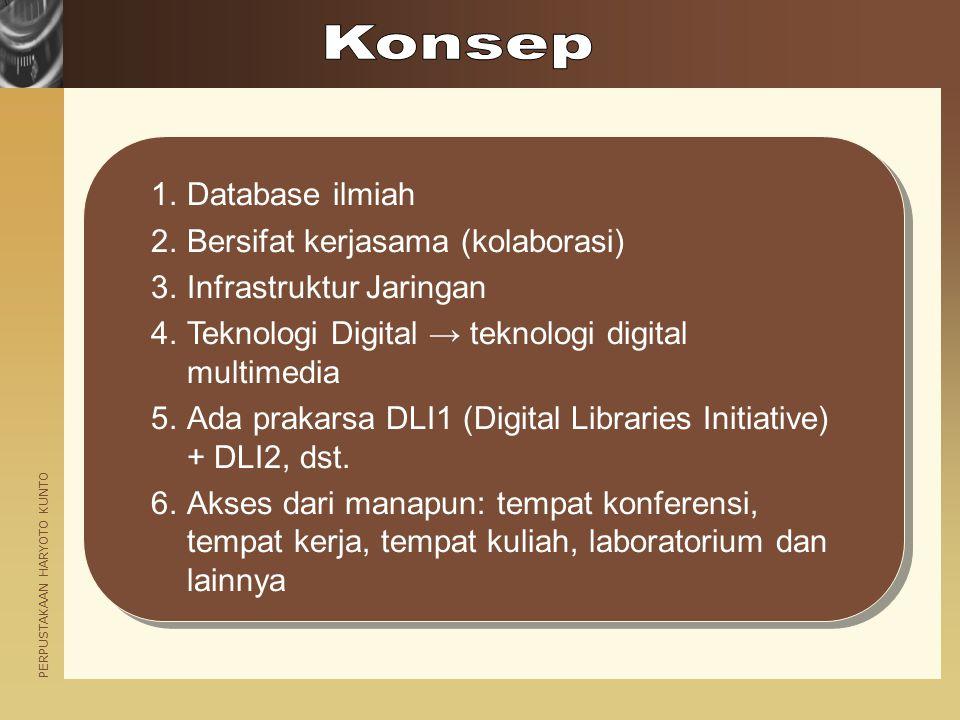 PERPUSTAKAAN HARYOTO KUNTO 1.Database ilmiah 2.Bersifat kerjasama (kolaborasi) 3.Infrastruktur Jaringan 4.Teknologi Digital → teknologi digital multim