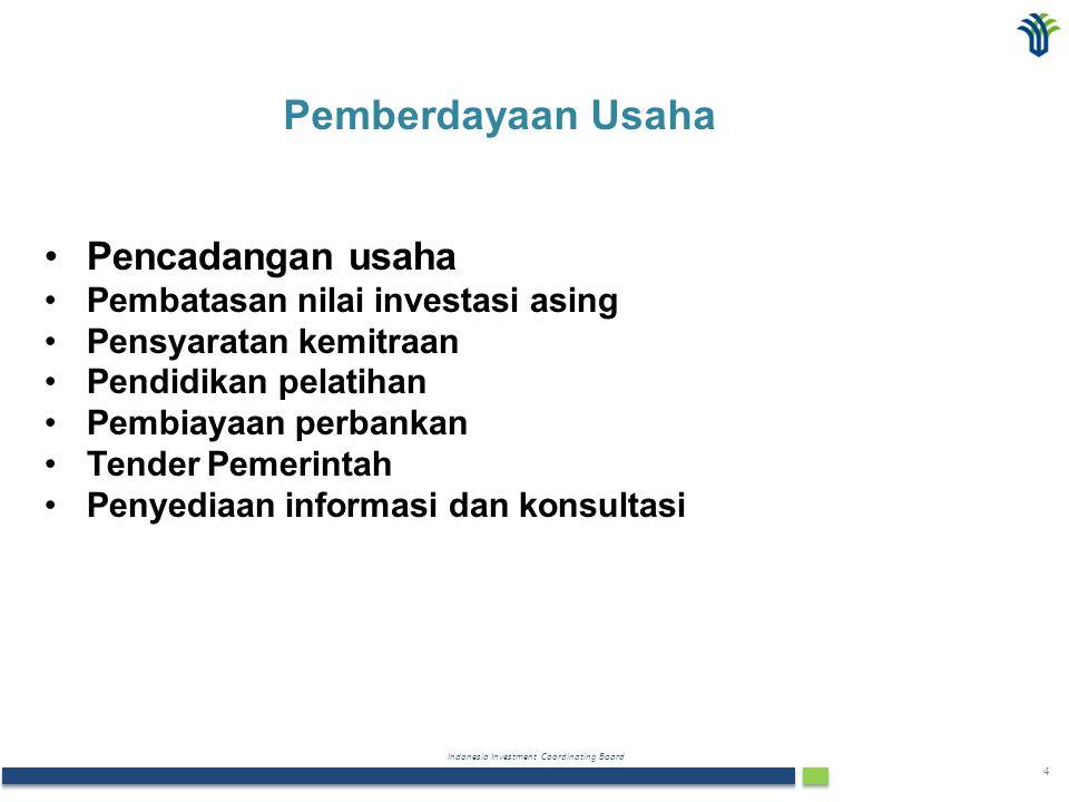 Indonesia Investment Coordinating Board 4 Pencadangan usaha Pembatasan nilai investasi asing Pensyaratan kemitraan Pendidikan pelatihan Pembiayaan per