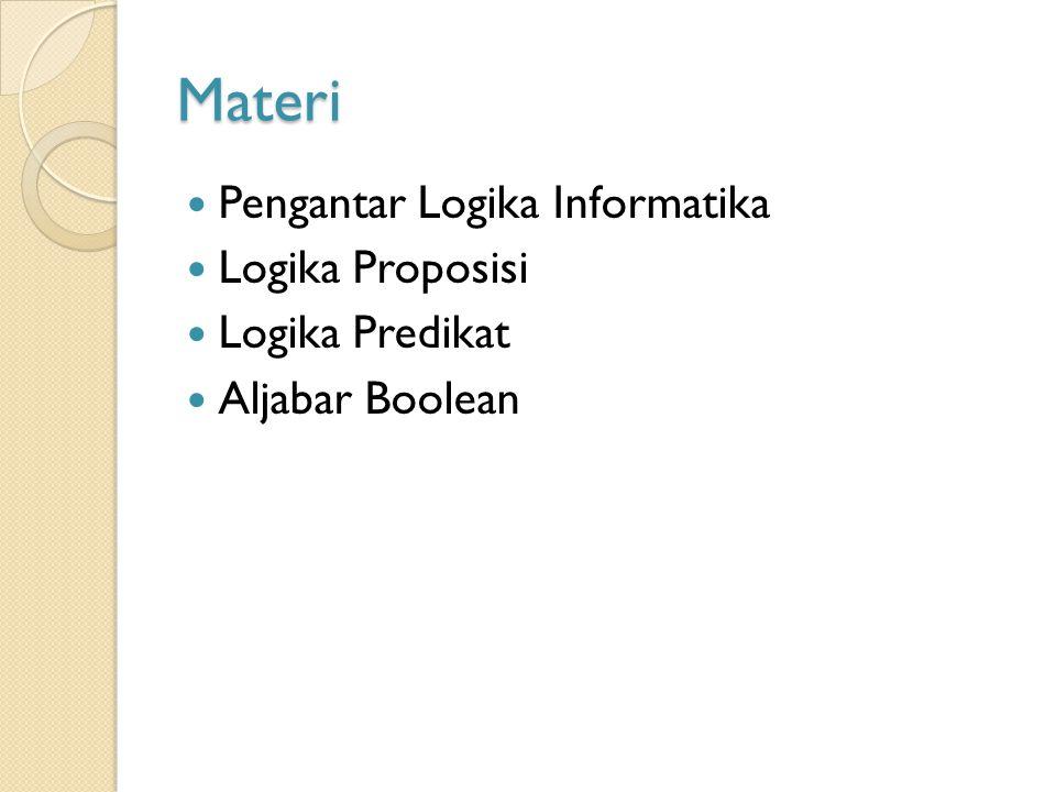 Materi Pengantar Logika Informatika Logika Proposisi Logika Predikat Aljabar Boolean
