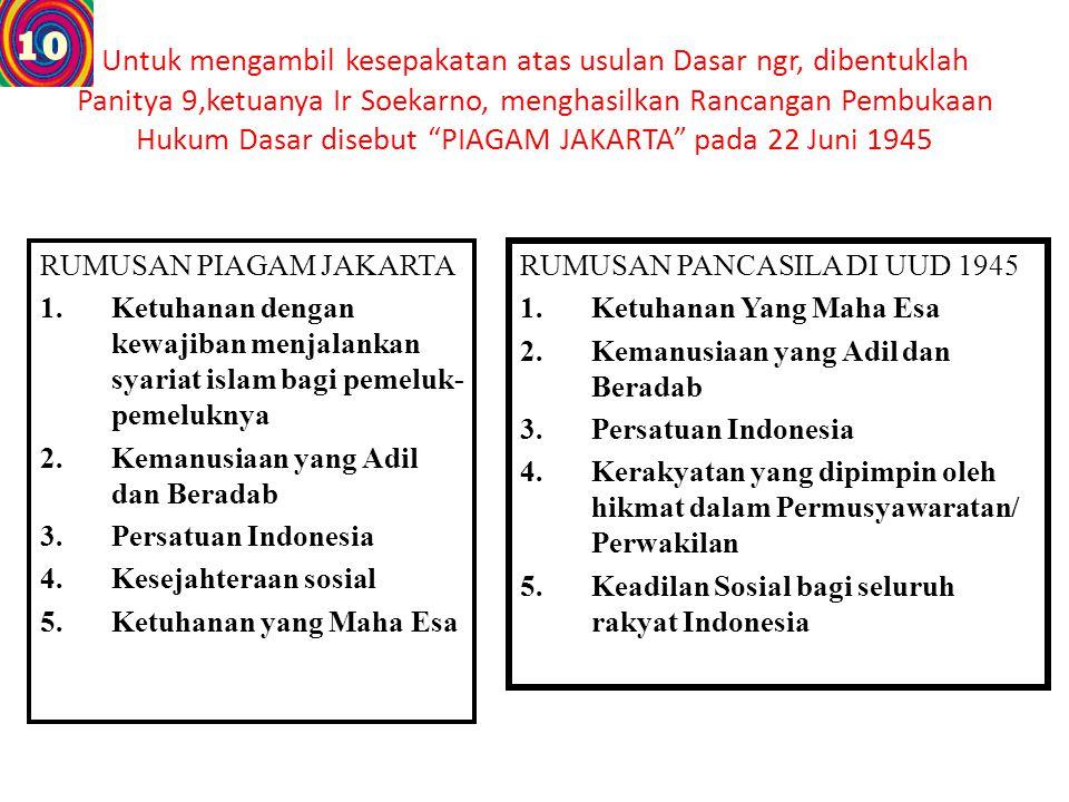 """Untuk mengambil kesepakatan atas usulan Dasar ngr, dibentuklah Panitya 9,ketuanya Ir Soekarno, menghasilkan Rancangan Pembukaan Hukum Dasar disebut """"P"""