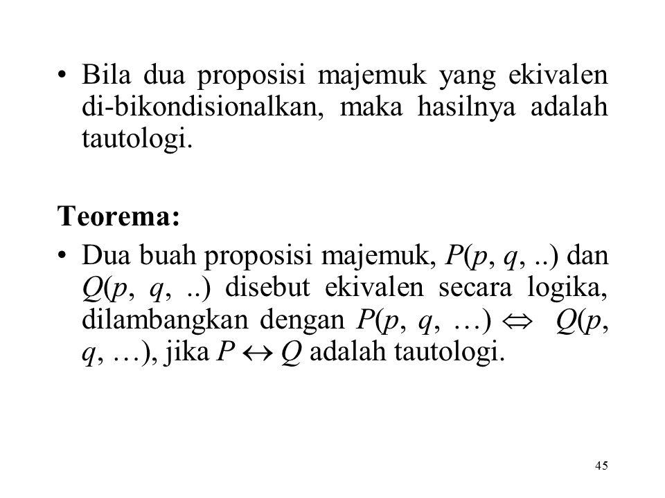 45 Bila dua proposisi majemuk yang ekivalen di-bikondisionalkan, maka hasilnya adalah tautologi. Teorema: Dua buah proposisi majemuk, P(p, q,..) dan Q