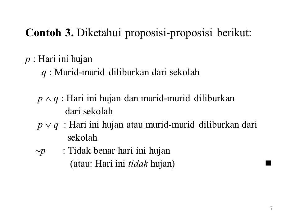 7 Contoh 3. Diketahui proposisi-proposisi berikut: p : Hari ini hujan q : Murid-murid diliburkan dari sekolah p  q : Hari ini hujan dan murid-murid d