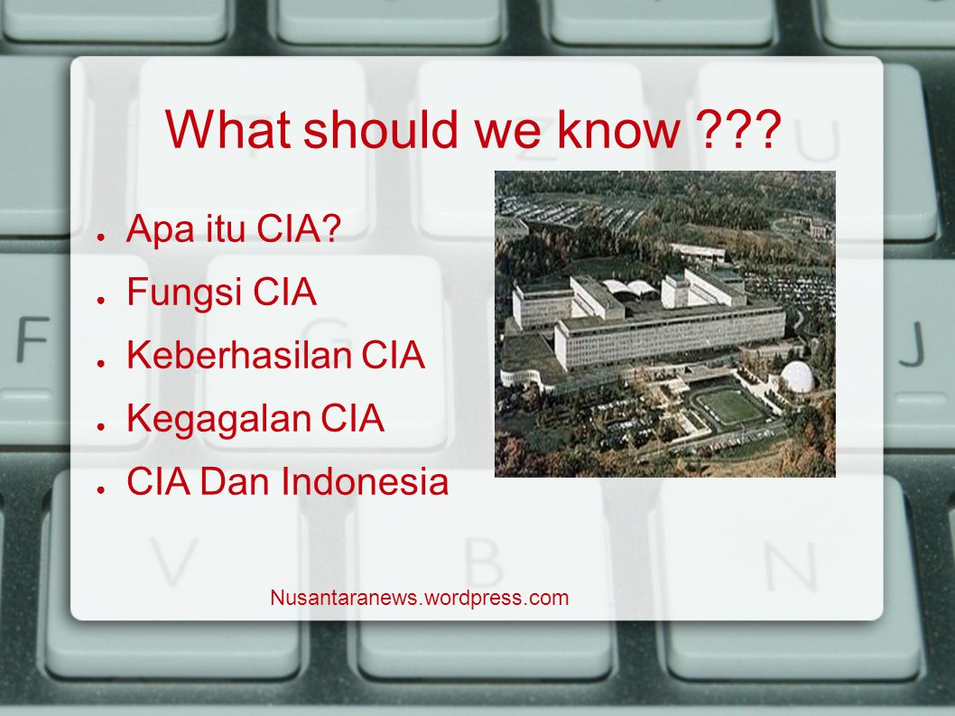 What should we know . ● Apa itu CIA.