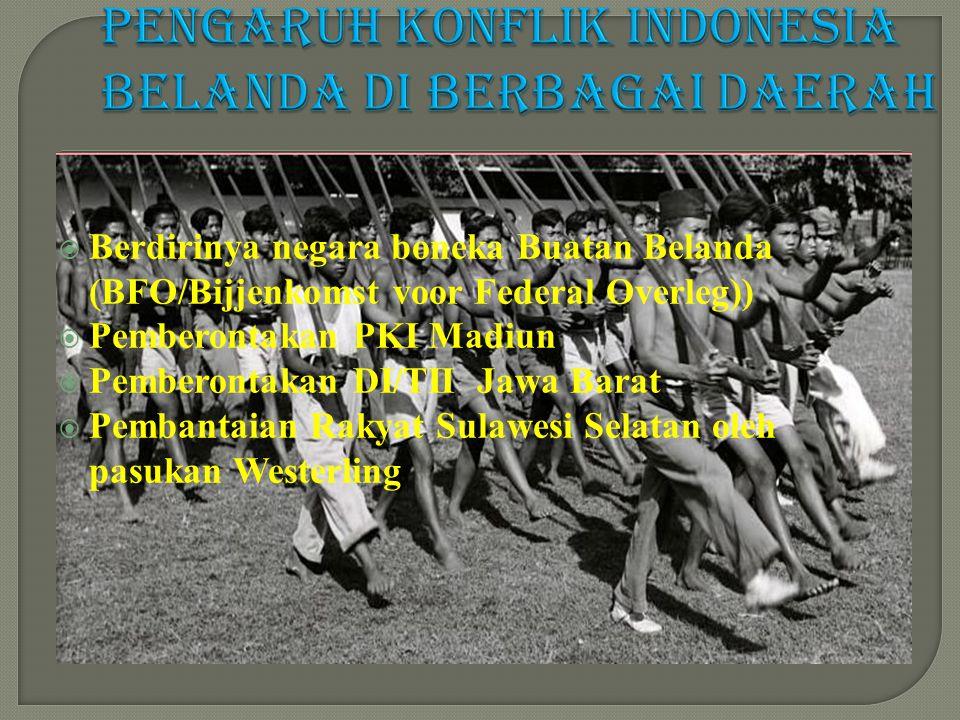  Berdirinya negara boneka Buatan Belanda (BFO/Bijjenkomst voor Federal Overleg))  Pemberontakan PKI Madiun  Pemberontakan DI/TII Jawa Barat  Pembantaian Rakyat Sulawesi Selatan oleh pasukan Westerling