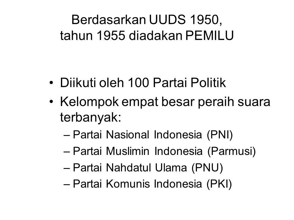 Berdasarkan UUDS 1950, tahun 1955 diadakan PEMILU Diikuti oleh 100 Partai Politik Kelompok empat besar peraih suara terbanyak: –Partai Nasional Indone