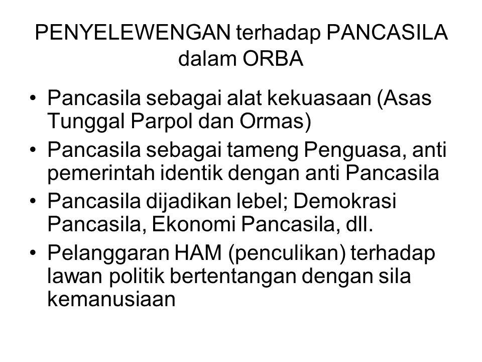 PENYELEWENGAN terhadap PANCASILA dalam ORBA Pancasila sebagai alat kekuasaan (Asas Tunggal Parpol dan Ormas) Pancasila sebagai tameng Penguasa, anti p