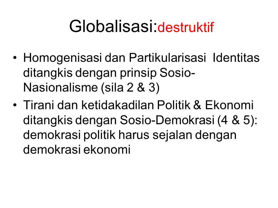Globalisasi: destruktif Homogenisasi dan Partikularisasi Identitas ditangkis dengan prinsip Sosio- Nasionalisme (sila 2 & 3) Tirani dan ketidakadilan