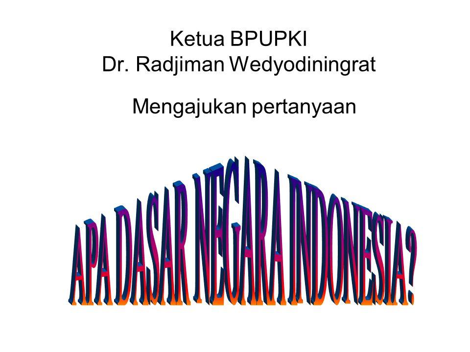 Ketua BPUPKI Dr. Radjiman Wedyodiningrat Mengajukan pertanyaan