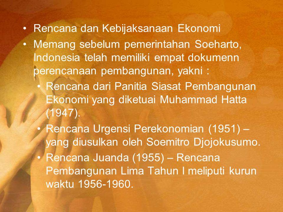 Rencana dan Kebijaksanaan Ekonomi Memang sebelum pemerintahan Soeharto, Indonesia telah memiliki empat dokumenn perencanaan pembangunan, yakni : Renca