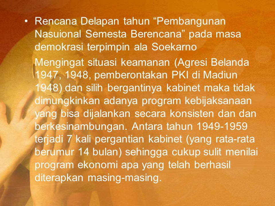"""Rencana Delapan tahun """"Pembangunan Nasuional Semesta Berencana"""" pada masa demokrasi terpimpin ala Soekarno Mengingat situasi keamanan (Agresi Belanda"""
