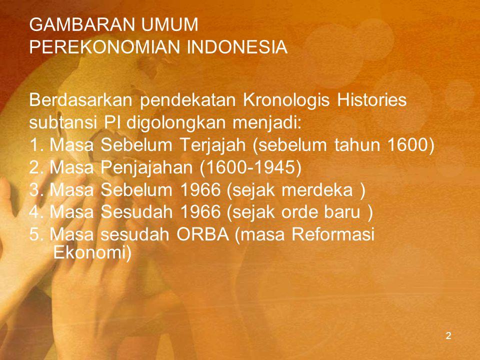 PERIODE KOLONIAL Ciri perekonomian kolonial Pada jaman Kolonial Belanda, ekonomi Indonesia diwarnai oleh suatu strategiyang melahirkan dualisme dalam kegiatan ekonomi, yaitu dualisme antara sektor ekspor (enclave) dan sektor tradisonal (hinterland).