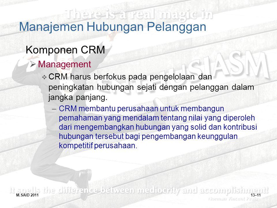 M.SAID 201113–11 Manajemen Hubungan Pelanggan Komponen CRM  Management  CRM harus berfokus pada pengelolaan dan peningkatan hubungan sejati dengan p
