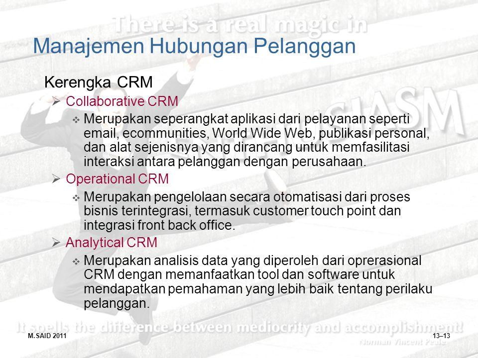 13–13 Manajemen Hubungan Pelanggan Kerengka CRM  Collaborative CRM  Merupakan seperangkat aplikasi dari pelayanan seperti email, ecommunities, World