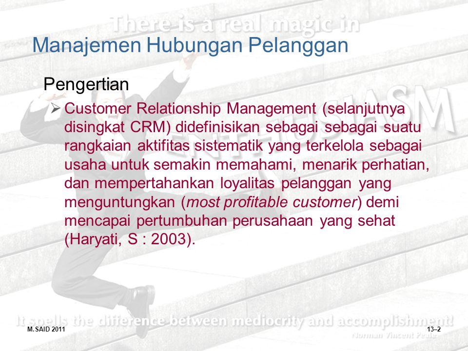 M.SAID 201113–2 Manajemen Hubungan Pelanggan Pengertian  Customer Relationship Management (selanjutnya disingkat CRM) didefinisikan sebagai sebagai s