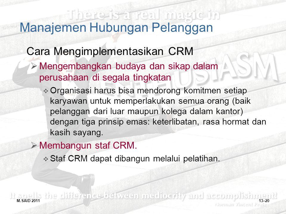 M.SAID 201113–20 Manajemen Hubungan Pelanggan Cara Mengimplementasikan CRM  Mengembangkan budaya dan sikap dalam perusahaan di segala tingkatan  Org