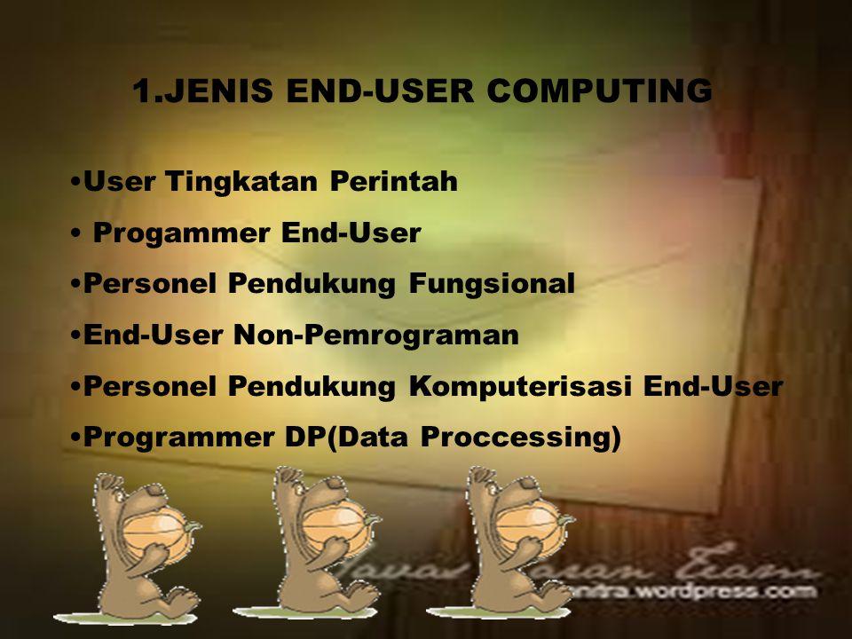 1.JENIS END-USER COMPUTING User Tingkatan Perintah Progammer End-User Personel Pendukung Fungsional End-User Non-Pemrograman Personel Pendukung Komputerisasi End-User Programmer DP(Data Proccessing)