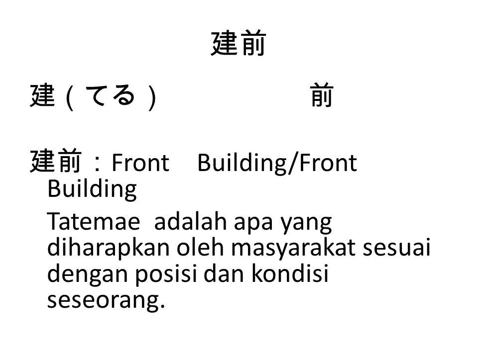 建前 建(てる) 前 建前: Front Building/Front Building Tatemae adalah apa yang diharapkan oleh masyarakat sesuai dengan posisi dan kondisi seseorang.
