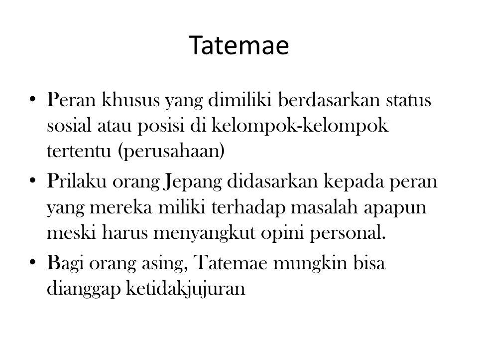 Tatemae Peran khusus yang dimiliki berdasarkan status sosial atau posisi di kelompok-kelompok tertentu (perusahaan) Prilaku orang Jepang didasarkan ke