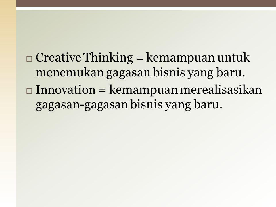  Creative Thinking = kemampuan untuk menemukan gagasan bisnis yang baru.  Innovation = kemampuan merealisasikan gagasan-gagasan bisnis yang baru.