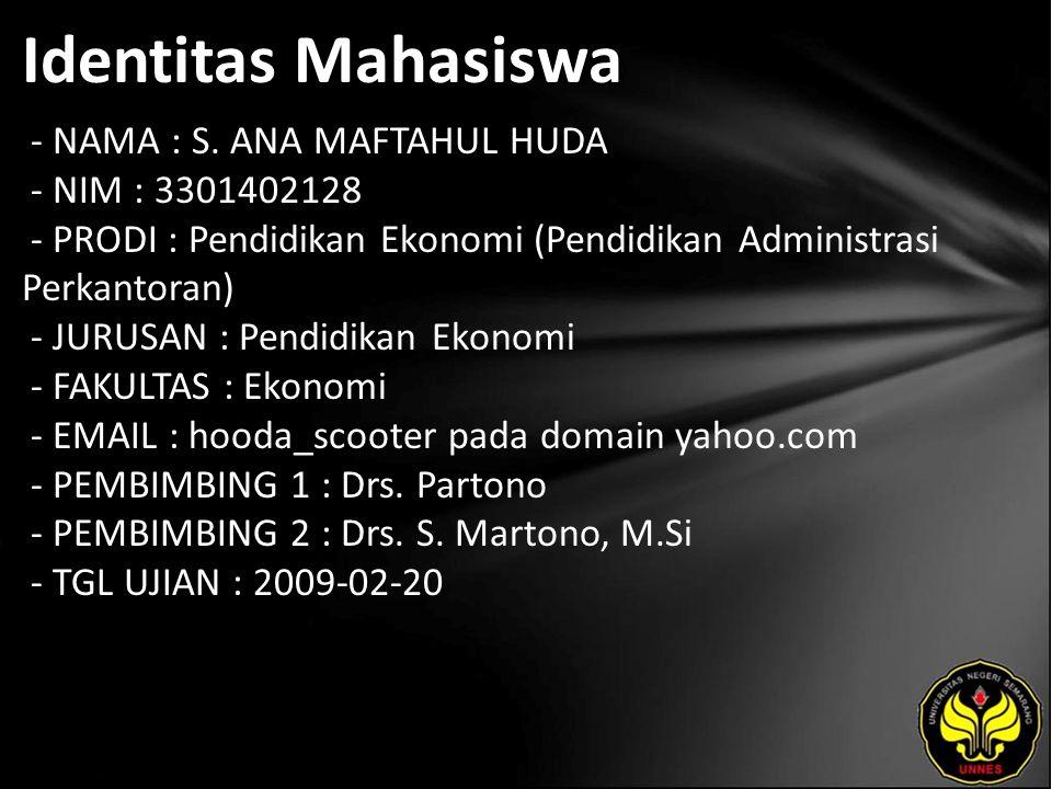 Identitas Mahasiswa - NAMA : S.