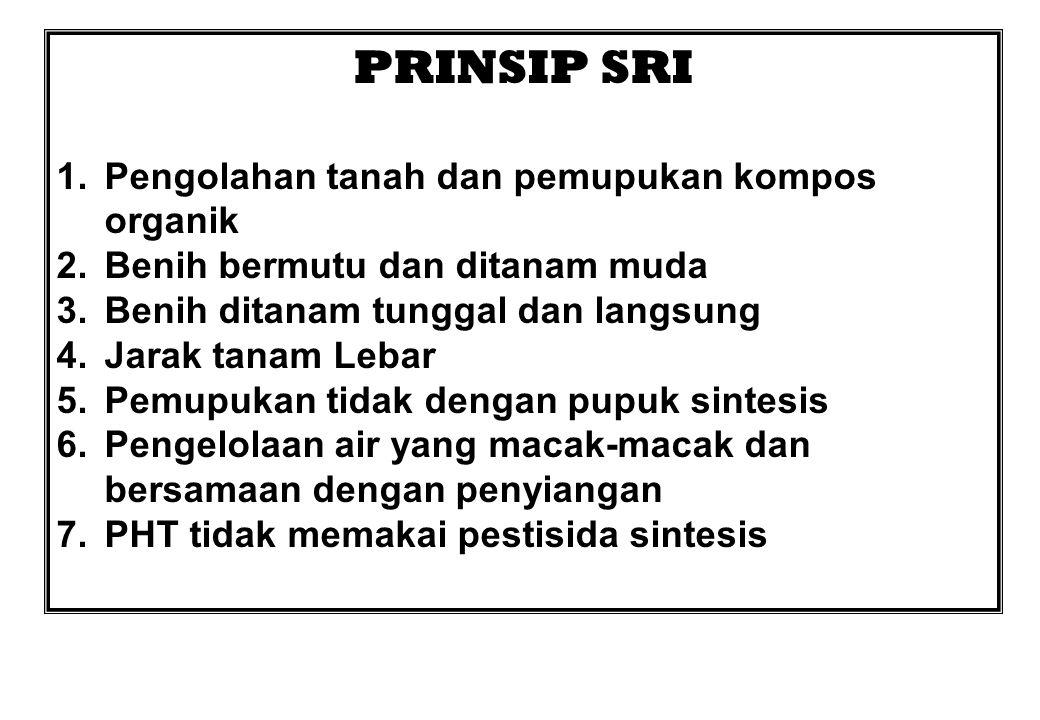 PRINSIP SRI 1.Pengolahan tanah dan pemupukan kompos organik 2.Benih bermutu dan ditanam muda 3.Benih ditanam tunggal dan langsung 4.Jarak tanam Lebar