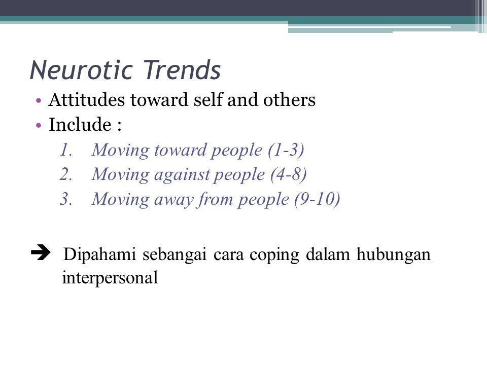 Neurotic Trends Attitudes toward self and others Include : 1.Moving toward people (1-3) 2.Moving against people (4-8) 3.Moving away from people (9-10)  Dipahami sebangai cara coping dalam hubungan interpersonal